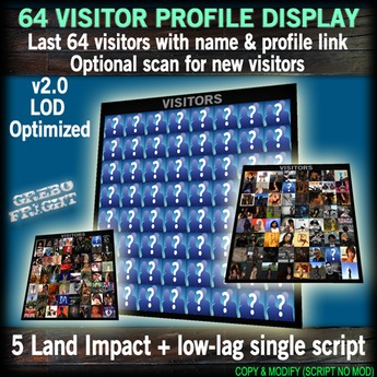 64 Visitor Profile Display Board - 5 Land Impact, single script v2.0