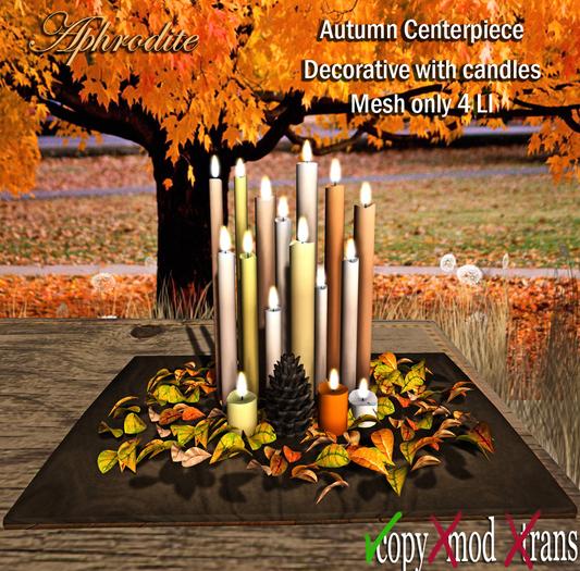 Aphrodite Autumn centerpiece with autumn leaves & pinecones