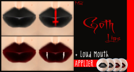 Mad' - Goth Lips [PACK] - Tattoo + Loud Mouth Applier