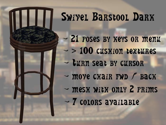 Barstool Swivel Tiki- rotate and move the stool
