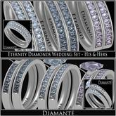 :Diamante: Eternity Diamonds Wedding Set - His & Hers