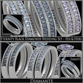 :Diamante: Eternity Black Diamonds Wedding Set - His & Hers