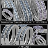 :Diamante: Eternity Pink Diamonds Wedding Set - His & Hers