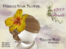 NSP Hibiscus Hair Flower Yellow Red boxed