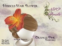 NSP Hibiscus Hair Flower Orange Pink boxed