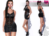 FULL PERM CLASSIC RIGGED MESH Women's Black Deep Cleavage Sleeveless Mini Leather Zip Up Dress with Lace Layer