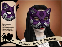 Cheshire Cat Mask (Purple & Silver)