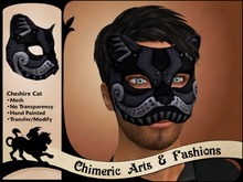 Cheshire Cat Mask (Black & Pewter)
