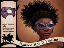Filigree Domino Mask (Burgundy & Silver)