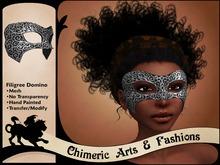 Filigree Domino Mask (Black & Silver)
