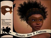 Filigree Domino Mask (Orange & Black)