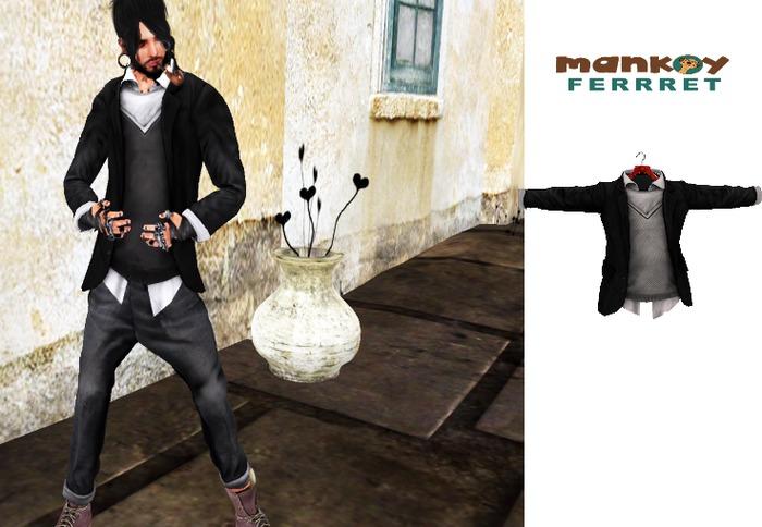 Mesh Jacket n Shirt Combo BLACK JACKET W LIGHT GREY SWEATER