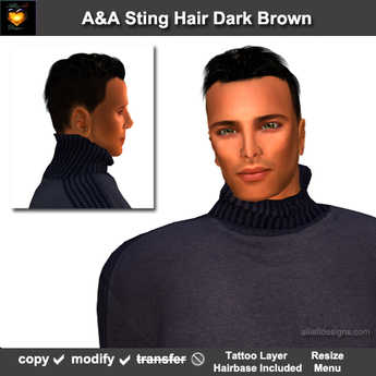 A&A Sting Hair Dark Brown (DEMO Color). Short men's hairstyle with matching tattoo layer hairbase.  Promo Price!