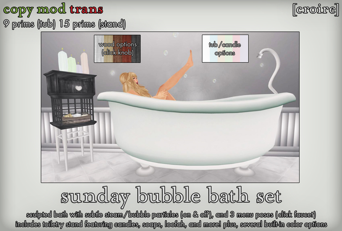 [croire] Sunday Bubble Bath Set (vintage porcelain bath, toiletry stand, built in animations, color options)