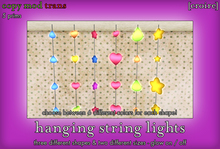 [croire] Hanging Spinning Glowing String Lights Decor (cute girly teen kid hearts stars decorations)