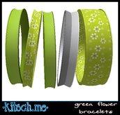 kitsch me - $1L Dollarbie Green Flower Bangles (boxed)