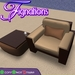 *Fig* Modern Designs Chair and Coffee Table Set with Lounge Pose