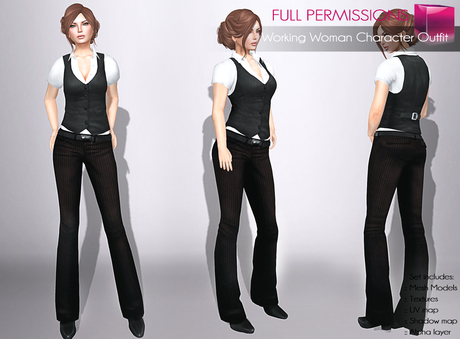Full Perm Rigged Mesh Working Woman Character Outfit