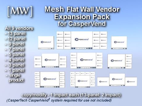 [MW] 9 Mesh Flat Wall Vendors for CasperVend * Combo Discount *