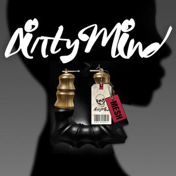 ::DirtyMind:: Doorknocker Earrings - Gold/Obsidian
