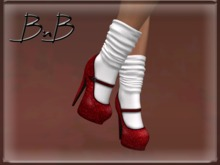 ::BnB:: Miss Mary Jane shoes: Dorothy Red/white sock [RIGGED MESH] in 3 sizes and unrigged mesh