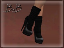 ::BnB:: Miss Mary Jane shoes: Vintage/black sock [RIGGED MESH] in 3 sizes and unrigged mesh