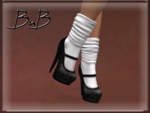 ::BnB:: Miss Mary Jane shoes: Vintage/white sock [RIGGED MESH] in 3 sizes and unrigged mesh