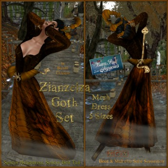 Zianzelza Gothic Gown Headdress Tail & Belt FatPack