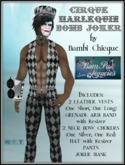 Cirque Harlequin BOMB JOKER MALE OUTFIT & Mask & Whip