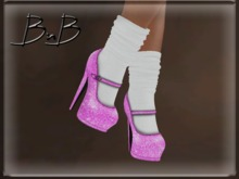 ::BnB:: Miss Mary Jane shoes: Dorothy Pink/white sock [RIGGED MESH] in 3 sizes and unrigged mesh