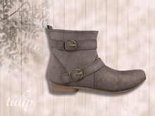 tulip. Suede Buckled Boots (Light Gray - MESH)