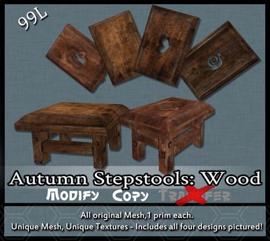 [LH] Autumn Cottage Stepstools - Wood
