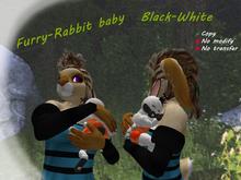 Furry-rabbit baby. Black-White