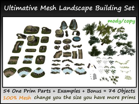 Ultimative Mesh Landscape Set 54 One Prim Parts+Examples c/m