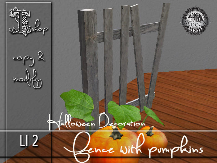 Halloween Decoration - Fence with pumpkins MC