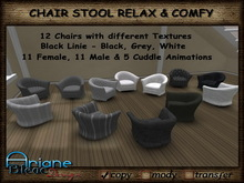 Chair Stool relax & comfy with Single & Cuddle Animations & 12 different Styles - black Linie - * Special Price *
