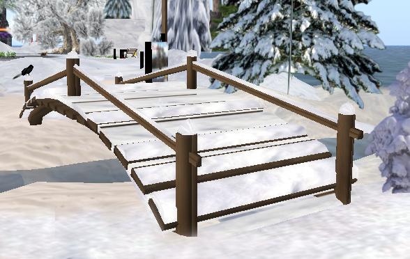 Winter in SL: Sculpted Snowy Bridge, 16 steps  = 3 prim
