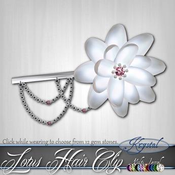 ::: Krystal :::Lotus Hair Clip - White Pearl - Silver