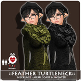 ::LEO-NT::  FEATHER TurtleNeck & NECKLACE SCARF [grey]