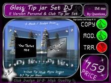 Glass Tip jar Set DJ * Personal & Club Tip jar *