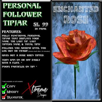 Personal Follower Rose Tipjar - Enchanted - Copyable Floating TipJar
