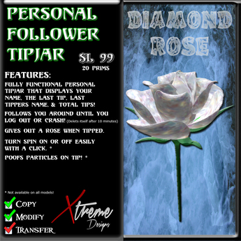 Personal Follower Rose Tipjar - Diamond - Diamonds - Copyable Floating TipJar