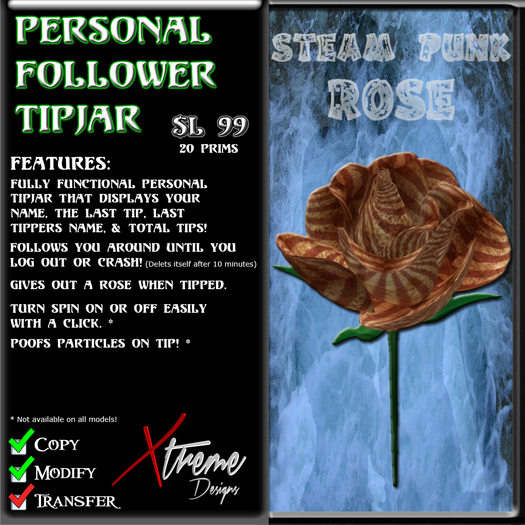 Personal Follower Rose Tipjar - Steam Punk - Steampunk - Victorian - Vintage - Copyable Floating TipJar