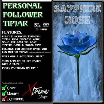 Personal Follower Rose Tipjar - Sapphire - Copyable Floating TipJar