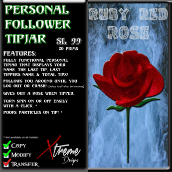 Personal Follower Rose Tipjar - Ruby Red - Copyable Floating TipJar
