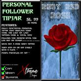Personal Follower Rose Tipjar - Ruby Red - Copyable Floating TipJar