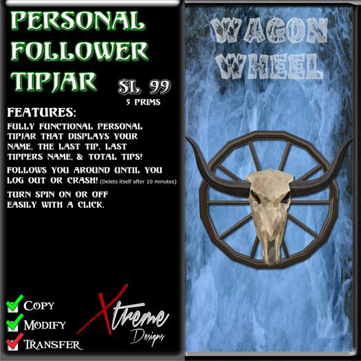 Personal Follower Tipjar - Wagon Wheel - Wild West - Country Western - Copyable Floating TipJar