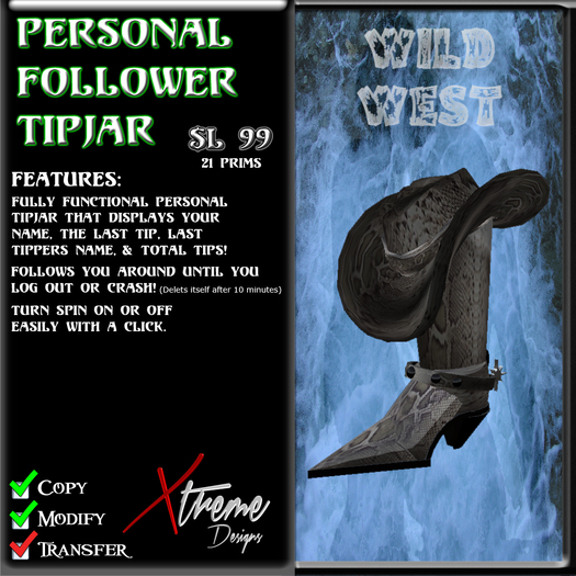 Personal Follower Tipjar - Wild West - Country Western - Cowboy Hat - Cowboy Boot - Boots - Copyable Floating TipJar