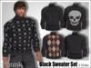 [Phunk] Mesh Black Sweater Set
