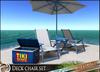 HeadHunter's Island - Deck chair set - blue tone - 8 animations in each - 1 prim each item - drink giver - MESH